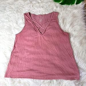 American Eagle Soft and Sexy Suede Pink Top